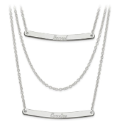 Sterling Silver Personalized Multistrand 2 Bar Name Necklace