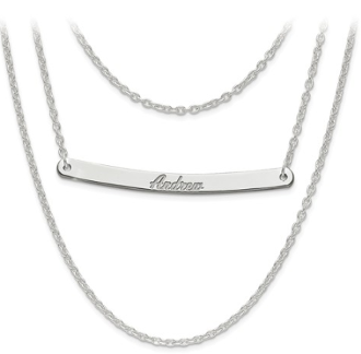 Sterling Silver Personalized Multistrand 1 Bar Name Necklace