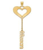 14K Yellow Gold Satin Cutout Personalized 1 Name Heart Pendant