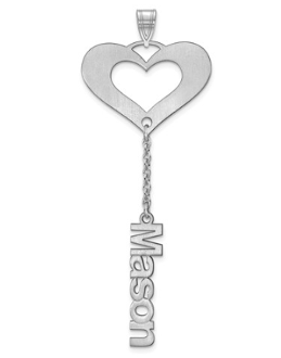 Sterling Silver Satin Cutout Personalized 1 Name Heart Pendant