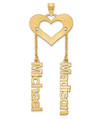 14K Yellow Gold Satin Cutout Personalized 2 Name Heart Pendant