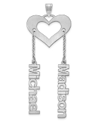 14K White Gold Satin Cutout Personalized 2 Name Heart Pendant