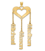 14K Yellow Gold Satin Cutout Personalized 3 Name Heart Pendant