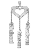 14K White Gold Satin Cutout Personalized 3 Name Heart Pendant
