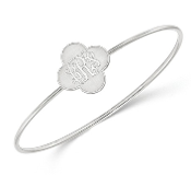 Sterling Silver Personalized Monogram Clover Bangle Bracelet
