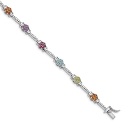 Sterling Silver Gemstone Flower Bracelet