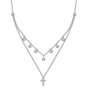 Sterling Silver Double Strand Cubic Zirconia Cross Necklace