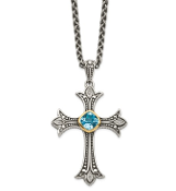 Sterling Silver & 14K Gold Diamond & Blue Topaz Cross Necklace