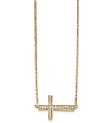 14K Yellow Gold Sideways Diamond Cross Necklace