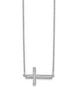 14K White Gold Sideways Diamond Cross Necklace