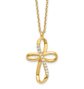 14K Yellow Gold Ribbon Cross Cubic Zirconia Necklace